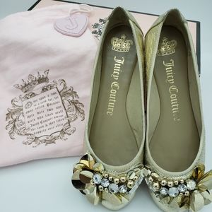 Juicy Couture Gold Ballet Flats Size 7